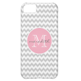 Chevron Monogram Gray and Pink ZigZag iPhone 5C Cases