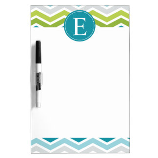 Chevron Monogram Green Blue Dry Erase Board