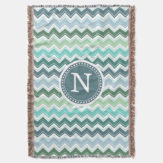 Chevron Monogram Green Modern Zigzag Throw Blanket