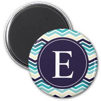 Chevron Monogram Navy Blue Cream 2 Inch Round Magnet
