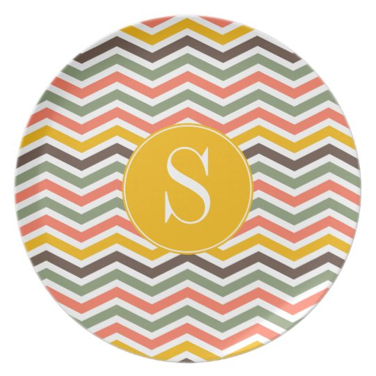 Chevron Monogram Personalized Plate