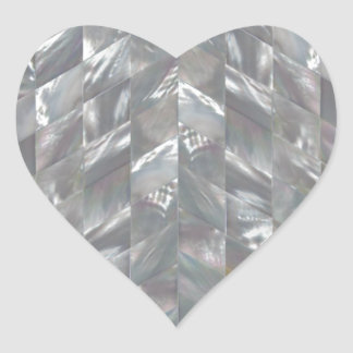 Chevron Mother of Pearl Heart Sticker