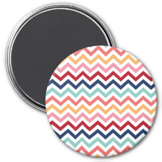 Chevron Multicolor Pink Turquoise Blue Red Coral 3 Inch Round Magnet