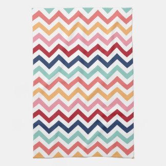 Chevron Multicolor Pink Turquoise Blue Red Coral Hand Towels