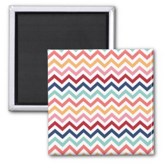 Chevron Multicolor Pink Turquoise Blue Red Coral Square Magnet