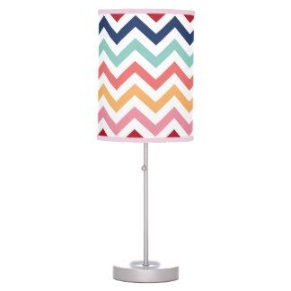 Chevron Multicolor Pink Turquoise Blue Red Coral Table Lamp