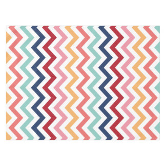 Chevron Multicolor Pink Turquoise Blue Red Coral Tablecloth