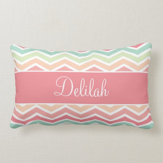 Chevron Name Pastel Pink Green Lumbar Pillow