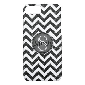 Chevron Nameplate - Black Glitter iPhone 8/7 Case
