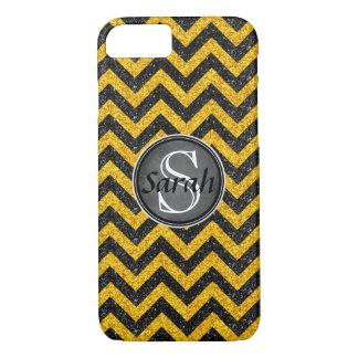 Chevron Nameplate - Black&Gold Glitter iPhone 8/7 Case