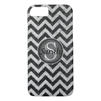 Chevron Nameplate - Black&SilverGlitter iPhone 8/7 Case