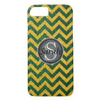 Chevron Nameplate - Green&Gold Glitter iPhone 8/7 Case