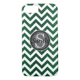 Chevron Nameplate - Kelly Green Glitter iPhone 8/7 Case