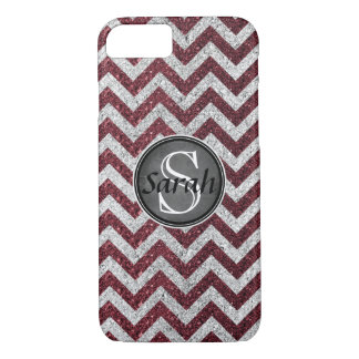 Chevron Nameplate - Wine&Silver Glitter iPhone 7 Case
