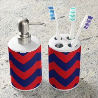 Chevron | Navy Blue & Red | Any Type/Size | Custom Soap Dispensers