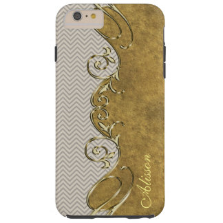 Chevron Old Gold iPhone 6 Plus Monogram Case