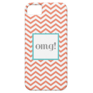 "Chevron ""OMG!"" in Gray Coral and Turquoise iPhone 5 Covers"