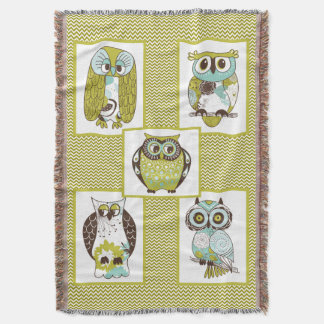 Chevron Owls Throw Blanket