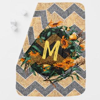 Chevron Paisley Monogram Initial Sunflowers Wreath Baby Blanket