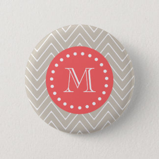 Chevron Pattern 2A Monogram Beige Coral 2 Inch Round Button