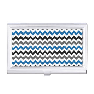 Chevron Pattern Background Blue Gray Black White Business Card Holder