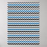 Chevron Pattern Background Blue Grey Black White Poster