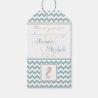 Chevron Pattern Beach Wedding Guest Favor Gift Tags