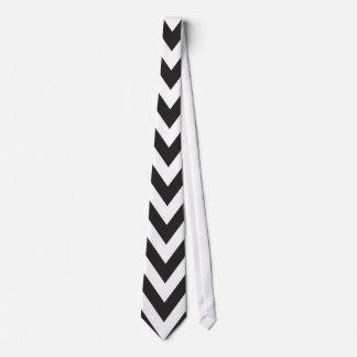 Chevron Pattern Black White Geometric Art Designs Tie