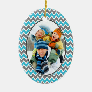Chevron Pattern Christmas Ornament (aqua)