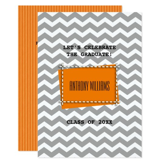 Chevron Pattern Custom Graduation Party Invitation