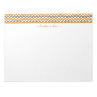 Chevron Pattern Custom Trendy Notepad (orange)