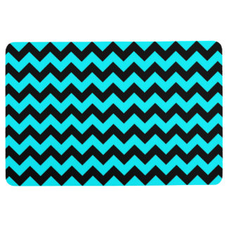 CHEVRON PATTERN Floor Mat, Black & Teal Floor Mat