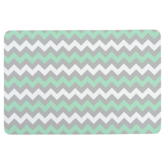 CHEVRON PATTERN Floor Mat, Mint Green Gray & White Floor Mat