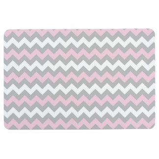 CHEVRON PATTERN Floor Mat, Pink Gray & White Floor Mat