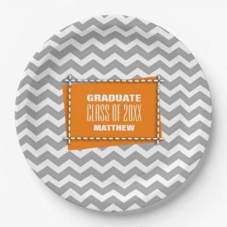 Chevron Pattern Graduation Party Paper Plates