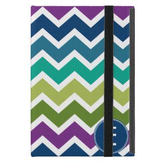 Chevron Pattern in Peacock Colors Custom Monogram iPad Mini Case