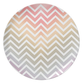 CHEVRON PATTERN IN PINK OMBRE PASTEL COLORS PLATES