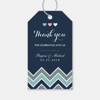 Chevron Pattern Navy Blue Bridal Shower Gift Tag Pack Of Gift Tags