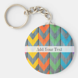 Chevron Pattern On Wood Texture by Shirley Taylor Basic Round Button Keychain