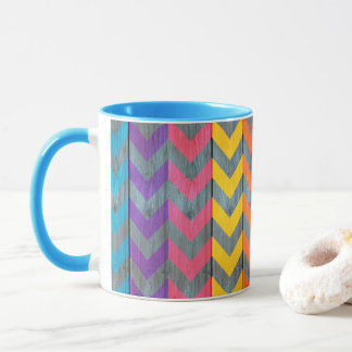 Chevron Pattern On Wood Texture by Shirley Taylor Mug