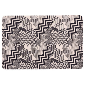CHEVRON PATTERN PILLOW, Abstract Pink & Black Floor Mat