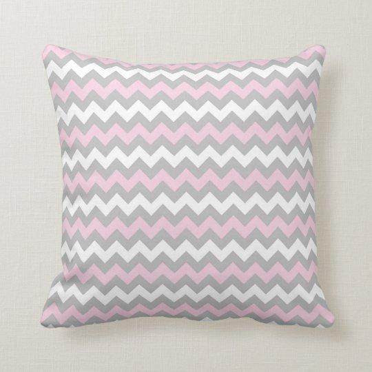 CHEVRON PATTERN PILLOW, Pink Grey & White Throw Pillow