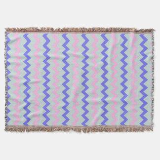 Chevron pattern pink blue throw
