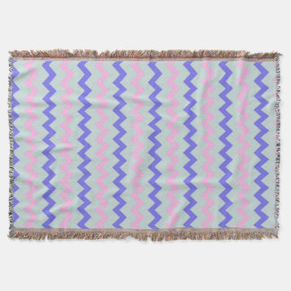 Chevron pattern pink blue throw blanket