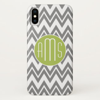 Chevron Pattern with Monogram - Gray Lime iPhone X Case