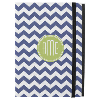 "Chevron Pattern with Monogram - Navy Lime iPad Pro 12.9"" Case"