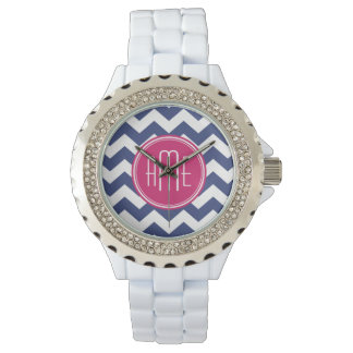 Chevron Pattern with Monogram - Navy Magenta Watch