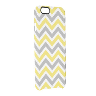 Chevron Pattern Zig Zag Gray and Yellow Clear iPhone 6/6S Case