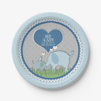 Chevron Patterned Elephant Hearts Baby Boy Shower 7 Inch Paper Plate