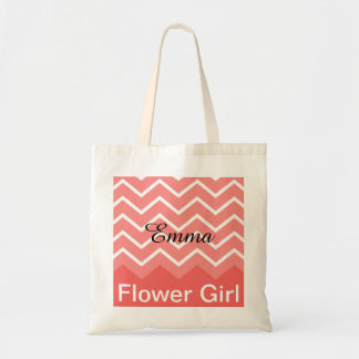 Chevron Personalized Wedding Party Tote (peach)